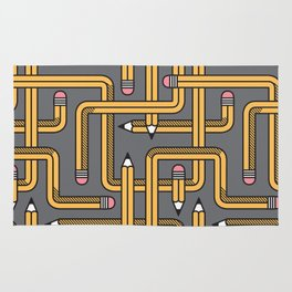 Pencil Maze Pattern pastel grey yellow Rug