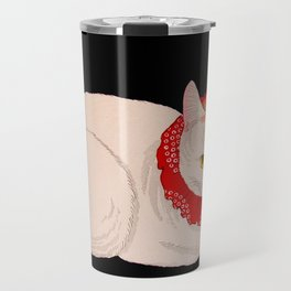 Shotei Takahashi White Cat In Red Outfit Black Background Vintage Japanese Woodblock Print Travel Mug
