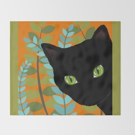 Black Kitty Cat In The Garden Throw Blanket