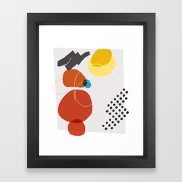 Shape & Hue Series No. 2 – Yellow, Orange & Blue Modern Abstract Framed Art Print