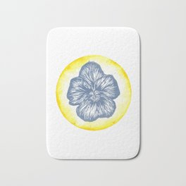 Violet Birth Flower - February - Blue Bath Mat