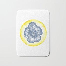 Violet Birth Flower - February - Blue Bath Mat