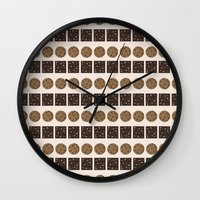 cookie monster Wall Clocks featuring Cookie Monster (cream) by Sidrah  Mahmood