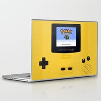 gameboy Laptop & iPad Skins featuring The Yellow Gameboy by bimorecreative