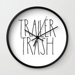 Trailer Trash RV text Wall Clock