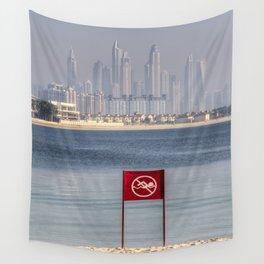 Dubai No Swimming Sign Wall Tapestry