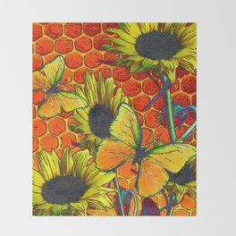 ORANGE-YELLOW BUTTERFLIES & SUNFLOWERS ARTISTIC HONEYCOMB DRAWING Throw Blanket