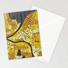 Pittsburgh Typography Neighborhood Map Stationery Cards