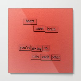 Heart Meet Brain Metal Print