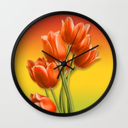 Orange Tulips & Warm Gradient Wall Clock