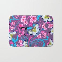 PINK ROSES & BUTTERFLIES  BLUE SCROLLS ART Bath Mat