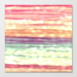 Whimsical Pastel Bokeh Stripes Canvas Print