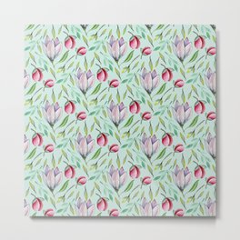 Pink green watercolor hand painted floral pattern Metal Print