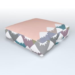 Nature background with Mountain landscape. Gray, pink, blue navy mountain with snow-capped peaks. Outdoor Floor Cushion