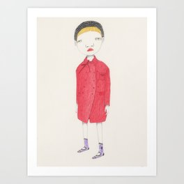 Ingrid and her red coat. Art Print