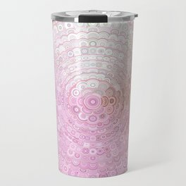 Pink and White Flower Mandala Travel Mug