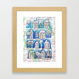 West Allis and Greenfield, WI Neighborhoods Continuous Line Drawing on vintage map Framed Art Print