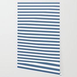 Blue and White Stripes Wallpaper