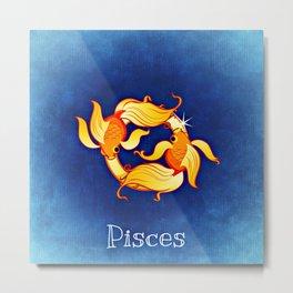 Zodiac_Sign_Fish Metal Print