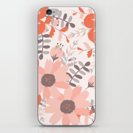 Big Flowers in Pink and Coral Red iPhone Skin