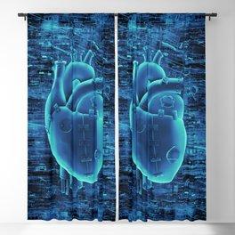 Gamer Heart BLUE TECH / 3D render of mechanical heart Blackout Curtain