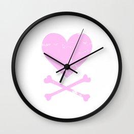 Heart and Crossbones - Pink Wall Clock