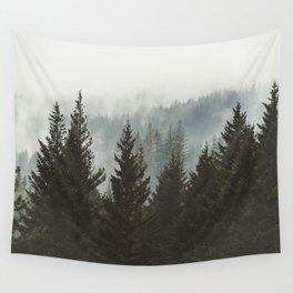 Wanderlust Forest II - Mountain Adventure in Foggy Woods Wall Tapestry