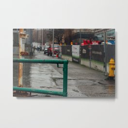 Rainy Street - Seattle, WA Metal Print