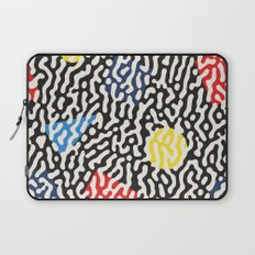 Retro Jumble Black and White Drips And Color Polygons Pattern Abstract Seamless Background Laptop Sleeve