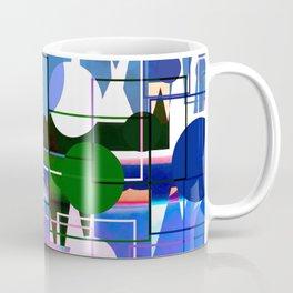 Multi- Blue Sticker Line Abstract Design Coffee Mug