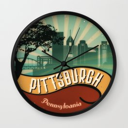 Pittsburgh City Skyline Pennsylvania Retro Vintage Design Wall Clock