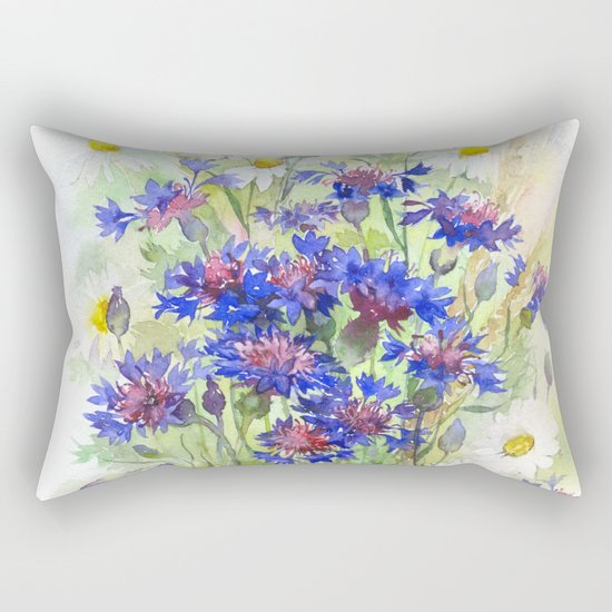 Meadow watercolor flowers with cornflowers Rectangular Pillow
