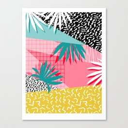 Bingo - throwback retro memphis neon tropical socal desert festival trendy hipster pattern pop art Canvas Print