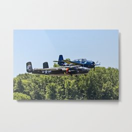 B-24 and Hellcat World War II Aircraft Fly Together at Mosby Missouri Metal Print