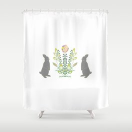 Rabbits and flowers Shower Curtain