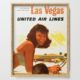 """Vintage Las Vegas United Air Lines Travel Poster """"Day Time Sun Night Time Fun"""" Serving Tray"""