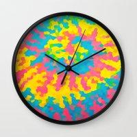 tie dye Wall Clocks featuring Tie Dye by Jillian Stanton