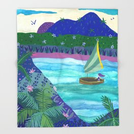 Sailing by Tropical Islands Throw Blanket