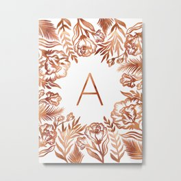 Letter A - Faux Rose Gold Glitter Flowers Metal Print