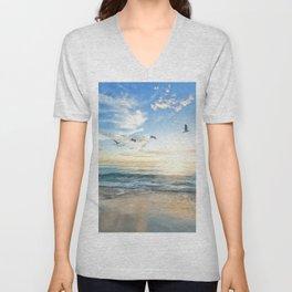 Ocean Beach Waves Sunset Photo Unisex V-Neck