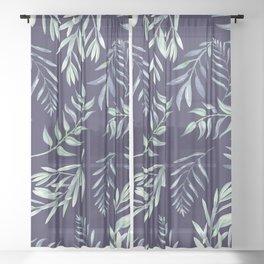 Floating Leaves Blue 2 #society6 #buyart Sheer Curtain