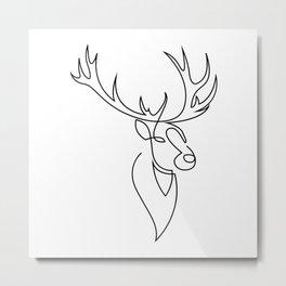 stag - one line art Metal Print