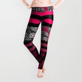 Pink Sugar Skulls And Stripes Leggings