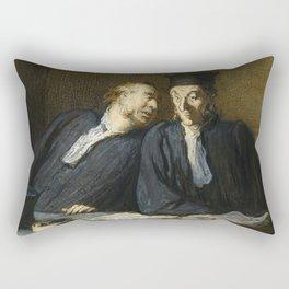 """Honoré Daumier """"Two Lawyers Conversing"""" Rectangular Pillow"""