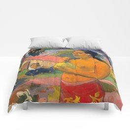 "Paul Gauguin ""Eu Haere Ia Oe (Woman Holding a Fruit. Where are You Going)"" Comforters"