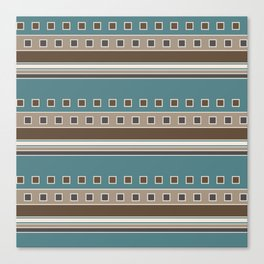 Squares and Stripes in Brown and Teal Canvas Print