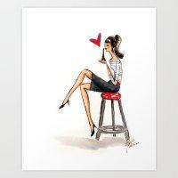 I Love Paris Fashion Watercolor Feminine Illustration Art Print