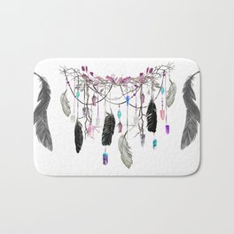 Raven Feathers And Roses Crystal Spirit Gazer Bath Mat