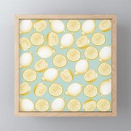 Lemons On Turquoise Background Framed Mini Art Print