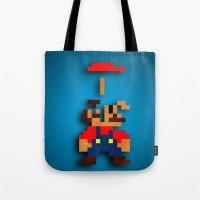 tetris Tote Bags featuring Mario Tetris by Darthdaloon